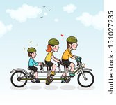 family cycling parents and son | Shutterstock .eps vector #151027235