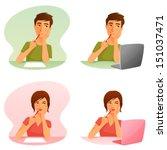 cute cartoon illustrations of a ...   Shutterstock .eps vector #151037471