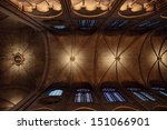 PARIS - MARCH 17: Gothic interior of the Notre Dame de Paris Cathedral, detail of the ceiling in a wide-angle view on March 17, 2012 in Paris, France - stock photo