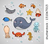 sticker with sea animals ... | Shutterstock .eps vector #151067015