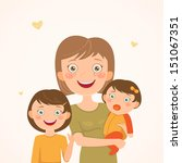 mother and daughters. happy... | Shutterstock .eps vector #151067351