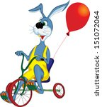 cheerful gray hare rides a... | Shutterstock .eps vector #151072064