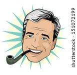 vintage pipe smoking gentleman    Shutterstock .eps vector #151072199