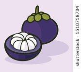mangosteen fruit food fresh... | Shutterstock .eps vector #1510758734