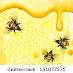 bees on honeycomb  | Shutterstock .eps vector #151077275