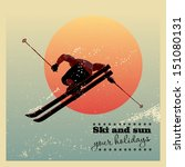 Retro poster. Skier flying against the evening sun