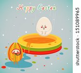 happy holidays with easter eggs.... | Shutterstock .eps vector #151089965