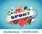 vector set of sport balls and... | Shutterstock .eps vector #1510911041