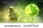 man in respirator against...   Shutterstock . vector #151097519