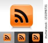 rss icon set orange color...