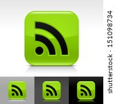 rss icon set green color glossy ...