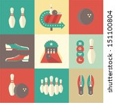 vector vintage bowling icons | Shutterstock .eps vector #151100804