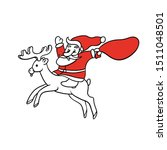 santa claus riding deer with... | Shutterstock .eps vector #1511048501