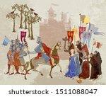 medieval battle scene.... | Shutterstock .eps vector #1511088047
