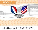 Pool C, France vs USA, Rugby match 2019, sakura pattern and stadium background Vector illustration.