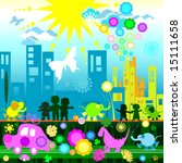 children and ecology | Shutterstock .eps vector #15111658
