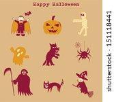 halloween set doodle  hand... | Shutterstock .eps vector #151118441