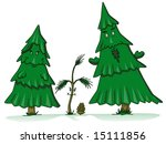 Pine Tree Family Cartoon With...