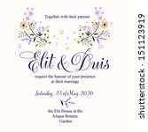 invitation or wedding card with ... | Shutterstock .eps vector #151123919