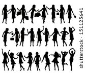 Silhouettes Of Women In Variou...
