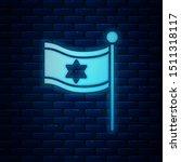 glowing neon flag of israel...   Shutterstock .eps vector #1511318117
