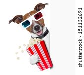 3d glasses dog with  popcorn... | Shutterstock . vector #151132691