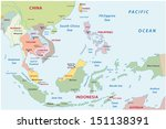 southeast asia map - stock vector