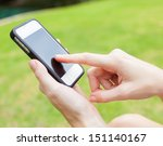 female using mobile smart phone ... | Shutterstock . vector #151140167