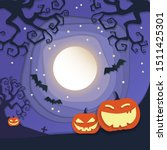 full moon halloween night with...   Shutterstock .eps vector #1511425301