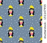 seamless pattern  with pinguin... | Shutterstock .eps vector #151147955
