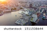 Oslo, Norway. City view during sunset. Back light. The central part of the city.  Oslo Opera House. Operahuset Oslo, From Drone