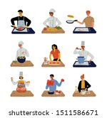 different people cooking in the ... | Shutterstock .eps vector #1511586671