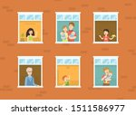people looking out of windows... | Shutterstock .eps vector #1511586977