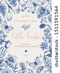 little garden. floral card with ... | Shutterstock .eps vector #1511591564