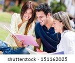 group of university students... | Shutterstock . vector #151162025