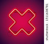 red neon close cross shape...