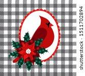 cardinal bird   poinsettia and ... | Shutterstock .eps vector #1511702894