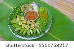 Stock photo thai food fried mackerel with shrimp paste sauce nam prik kapi pla too fried egg with climbing 1511758217