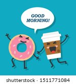 a glass of coffee and a donut...   Shutterstock .eps vector #1511771084
