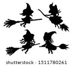 black silhouette of witch on... | Shutterstock .eps vector #1511780261