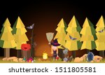 the little witch in the... | Shutterstock .eps vector #1511805581