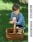 6 7 years old boy with basket... | Shutterstock . vector #15118258