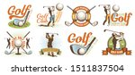 Golf Retro Logo With Clubs...