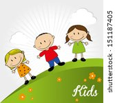 kids design over landscape... | Shutterstock .eps vector #151187405