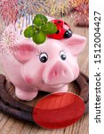 Stock photo lucky concept with piggy bank and horseshoe 1512004427