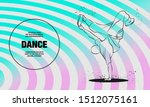 Breakdancer dancing and making a frieze on one hand. Vector outline of Breakdance sport illustration.