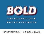modern 3d bold font and alphabet   Shutterstock .eps vector #1512131621