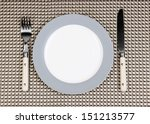 knife  color plate and fork  on ...   Shutterstock . vector #151213577