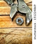 adjustable wrench tool on wood...   Shutterstock . vector #151224869
