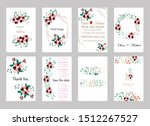 set of cards with roses leaves... | Shutterstock .eps vector #1512267527
